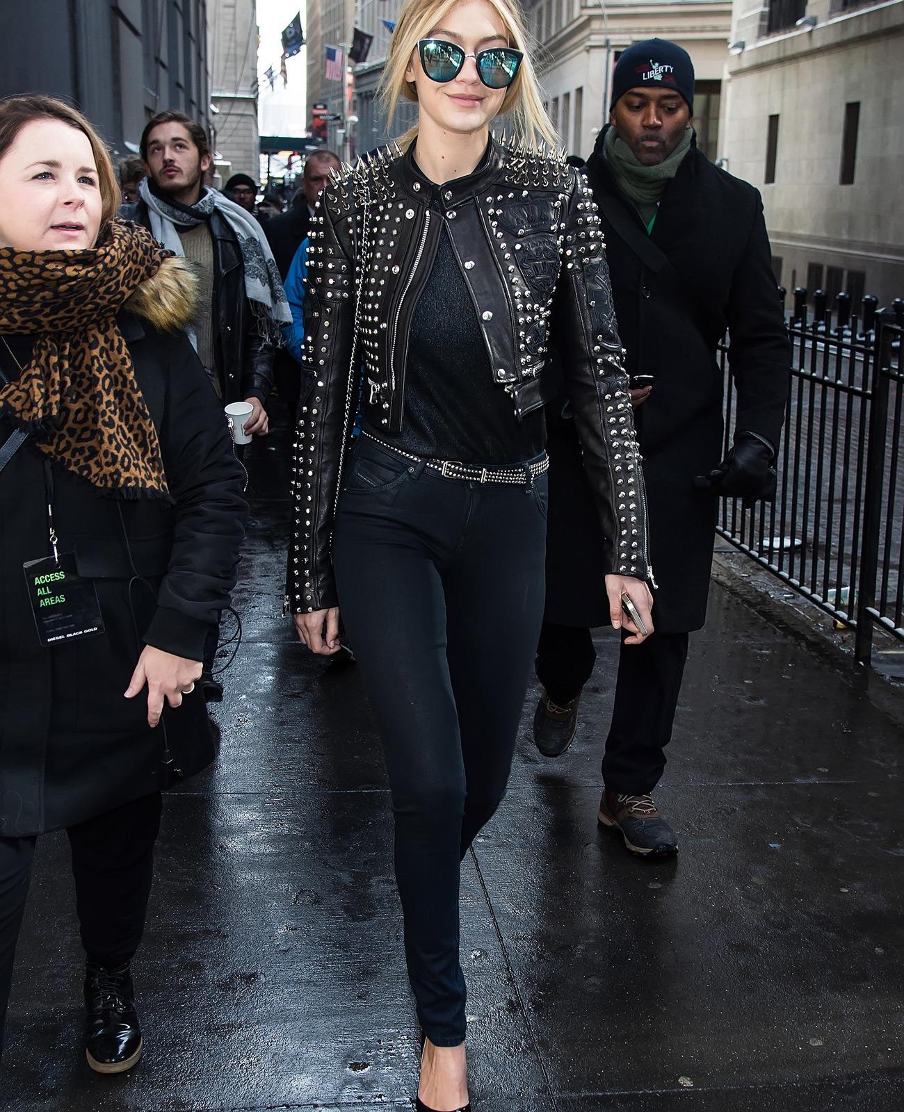 GiGi Hadid Studded Leather Moto Jacket